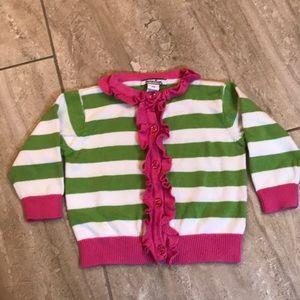 Like new lime green & pink ruffle striped cardigan